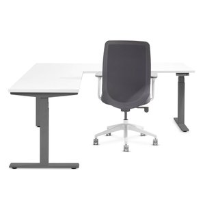 White Series L Adjustable Height Corner Desk with Charcoal Base, Left Handed