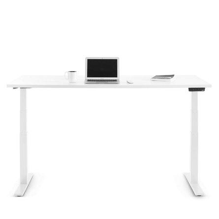 "Series L Adjustable Height Single Desk, White, 72"", White Legs"