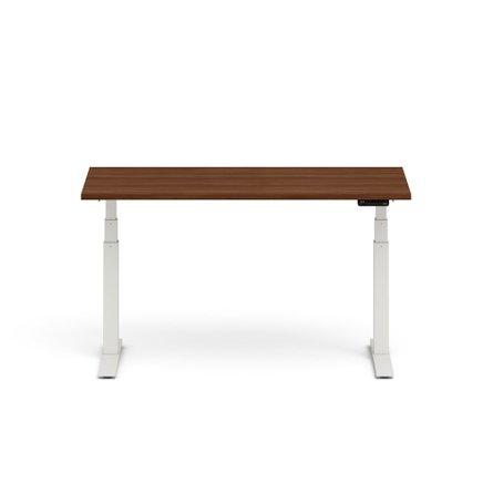 "Series L Adjustable Height Single Desk, Walnut, 60"", White Legs"