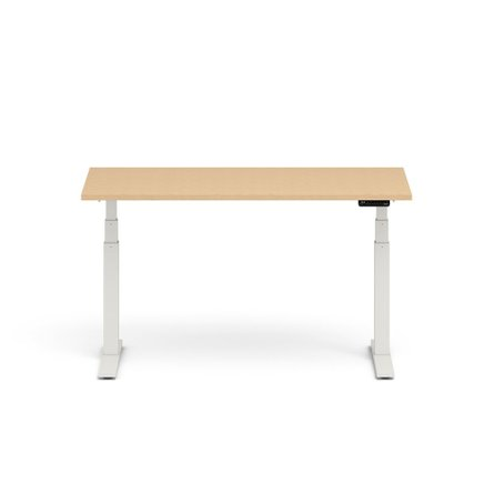 "Series L Adjustable Height Single Desk, Natural Oak, 60"", White Legs"