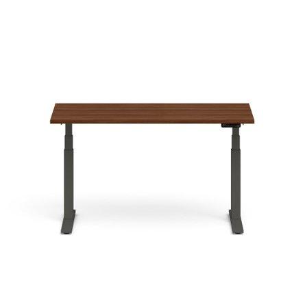 "Series L Adjustable Height Single Desk, Walnut, 60"", Charcoal Legs"
