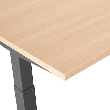 "Series L Adjustable Height Single Desk, Natural Oak, 60"", Charcoal Legs"