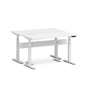 "Series L Desk for 2 + Boom Power Rail, White, 57"", White Legs"