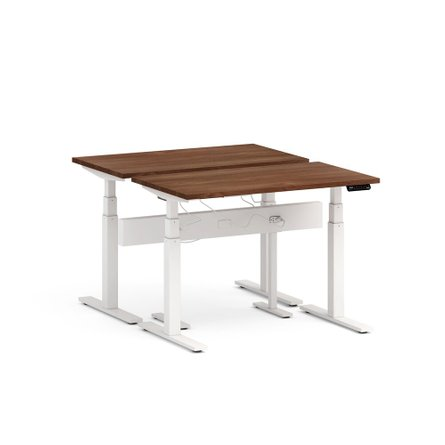 "Series L Desk for 2 + Boom Power Rail, Walnut, 57"", White Legs"