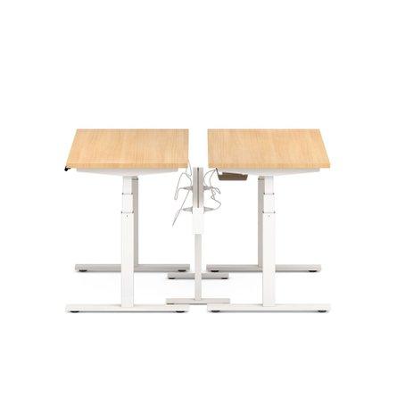 "Series L Desk for 2 + Boom Power Rail, Natural Oak, 57"", White Legs"