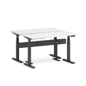 "Series L Desk for 2 + Boom Power Rail, White, 57"", Charcoal Legs"