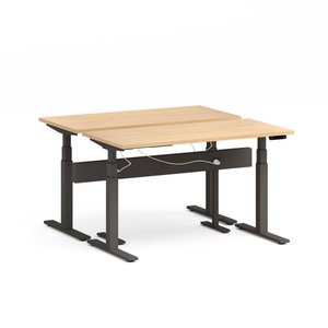 "Series L Desk for 2 + Boom Power Rail, Natural Oak, 57"", Charcoal Legs"