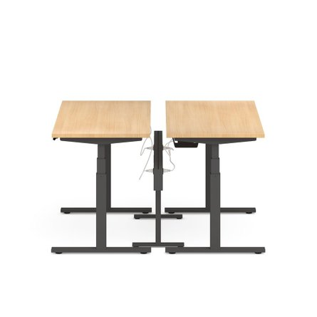 "Series L Desk for 2 + Boom Power Rail, Natural Oak, 57"", Charcoal Legs"