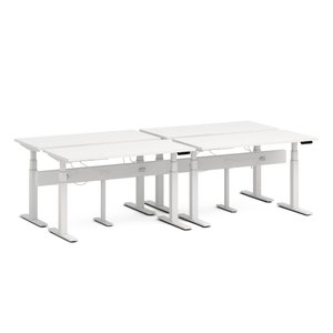 "Series L Desk for 4 + Boom Power Rail, White, 57"", White Legs"