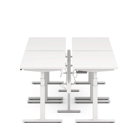 "Series L Desk for 4 + Boom Power Rail, White, 57"", White Legs"