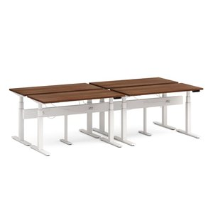 "Series L Desk for 4 + Boom Power Rail, Walnut, 57"", White Legs"