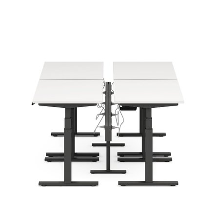 "Series L Desk for 4 + Boom Power Rail, White, 57"", Charcoal Legs"