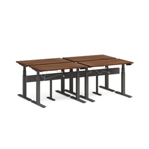 "Series L Desk for 4 + Boom Power Rail, Walnut, 57"", Charcoal Legs"