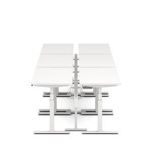 "Series L Desk for 6 + Boom Power Rail, White, 57"", White Legs"