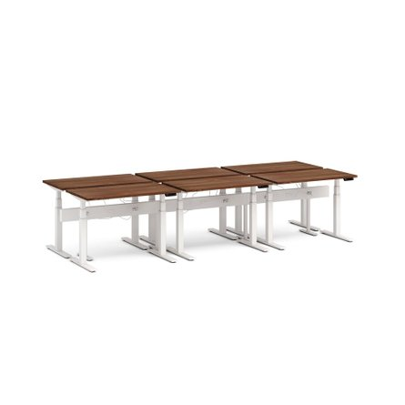 "Series L Desk for 6 + Boom Power Rail, Walnut, 57"", White Legs"