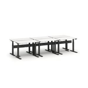 "Series L Desk for 6 + Boom Power Rail, White, 57"", Charcoal Legs"
