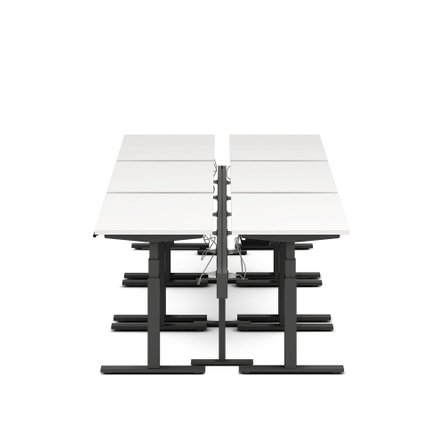 "Series L Desk for 6 + Boom Power Rail, White, 47"", Charcoal Legs"