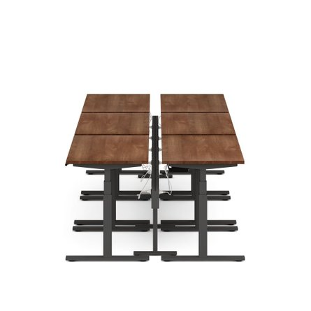 "Series L Desk for 6 + Boom Power Rail, Walnut, 57"", Charcoal Legs"