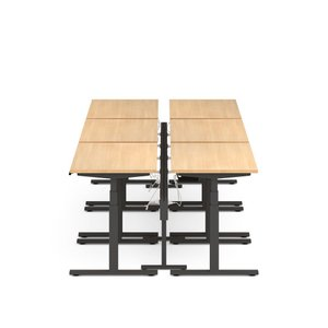 "Series L Desk for 6 + Boom Power Rail, Natural Oak, 57"", Charcoal Legs"