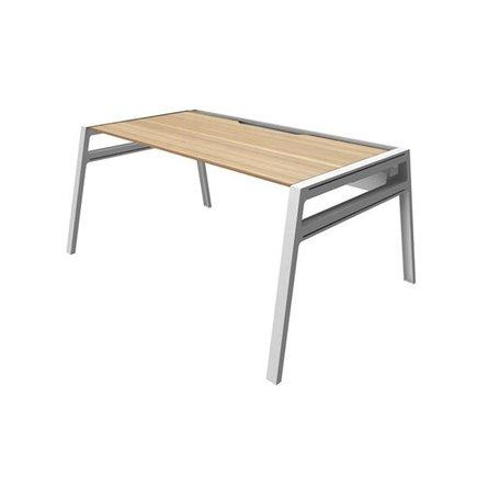 """Bivi Desk For One, Warm Oak, 48"""", White Frame"""