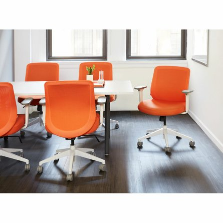 Max Task Chair, Mid Back, White Frame Orange