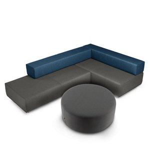 "Block Party Lounge Round Ottoman, 40"" Dark Gray"