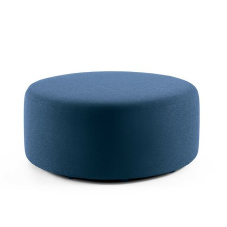 "Block Party Lounge Round Ottoman, 40"" Dark Blue"