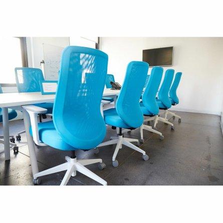Max Task Chair, Mid Back, White Frame Pool Blue