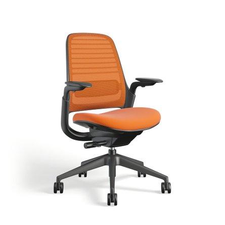 Steelcase Series 1 Chair, Black Frame Orange