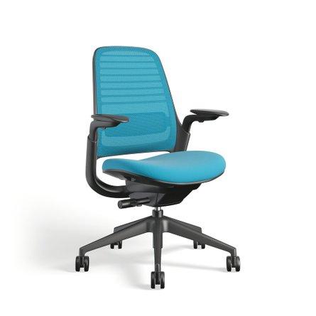 Steelcase Series 1 Chair, Black Frame Pool Blue