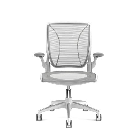 Pinstripe World Task Chair, Fixed Arms, Gray Frame Mesh White