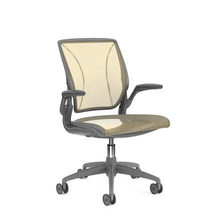 Pinstripe Mesh World Task Chair, Fixed Arms, Gray Frame Yellow