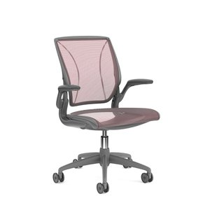Pinstripe Mesh World Task Chair, Fixed Arms, Gray Frame Red