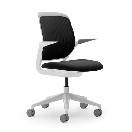 Cobi Desk Chair, White Frame Black