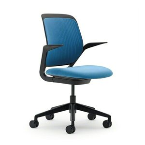 Cobi Desk Chair, Black Frame Pool Blue