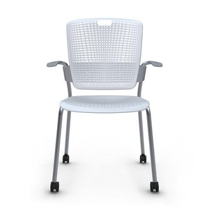 Shell Light Gray Cinto Chair with Arms, Rolling, Silver Frame