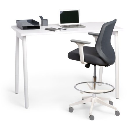 Dark Gray Max Drafting Chair, Mid Back, White Frame