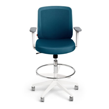 Slate Blue Max Drafting Chair, Mid Back, White Frame