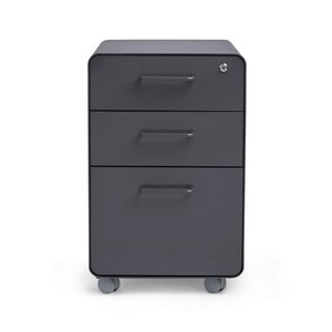 Stow 3-Drawer File Cabinet Rolling, Charcoal