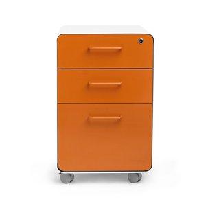 Stow 3-Drawer File Cabinet Rolling, White & Orange