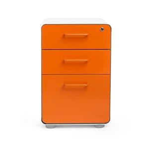Stow 3-Drawer File Cabinet, White & Orange
