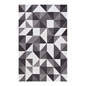 Kahula Geometric Triangle Mosaic 5' X 8' Area Rug Black, Gray and White
