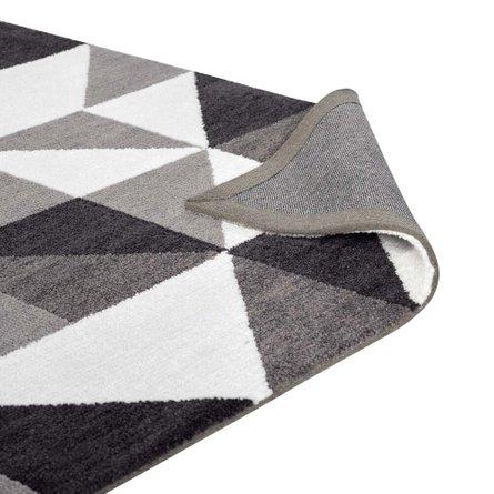 Kahula Geometric Triangle Mosaic 5' X 8' Area Rug Black, Gray and White