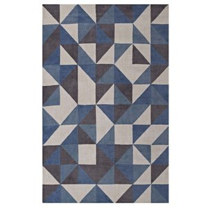 Kahula Geometric Triangle Mosaic 5' X 8' Area Rug Blue, White and Gray