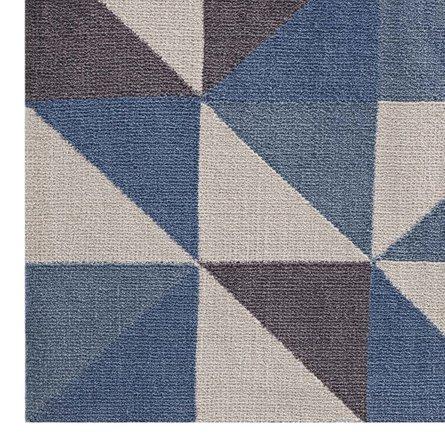 Kahula Geometric Triangle Mosaic 5' X 8' Area Rug Blue, White and Gray