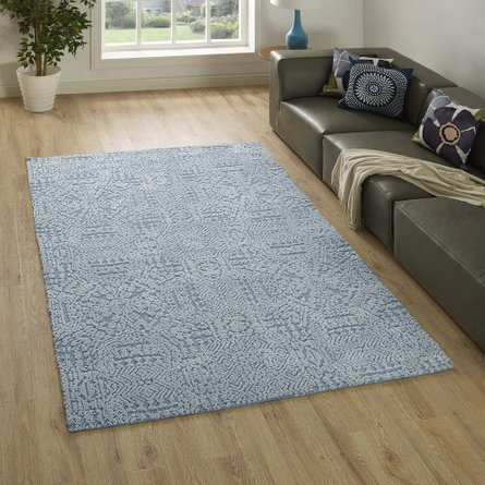 Javiera Contemporary Moroccan 5' X 8' Area Rug Ivory and Light Blue