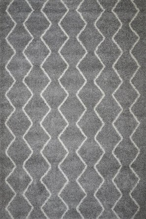 Admiral Chevron Shag Area Rug (8' X 10') In Light Gray