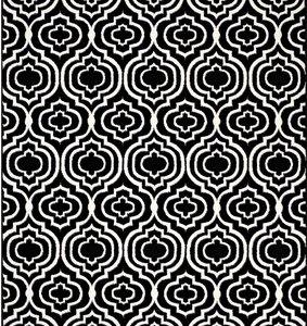 Frame Transitional Moroccan Trellis 8' x 10' Area Rug Black & White