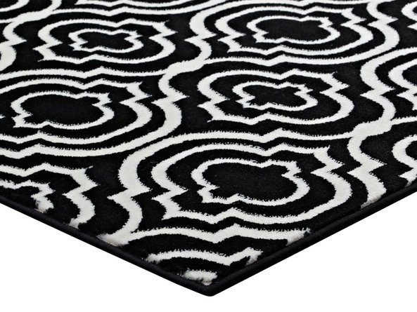 Frame Transitional Moroccan Trellis 8' x 10' Area Rug Black & White