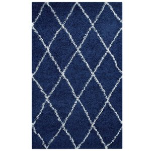 Toryn Diamond Lattice 8' x 10' Shag Area Rug Navy And Ivory